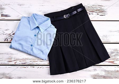 Elegant Cotton Shirt And Skirt. Girls New Buttoned Blue Shirt And Pleated Skirt With Belt For School