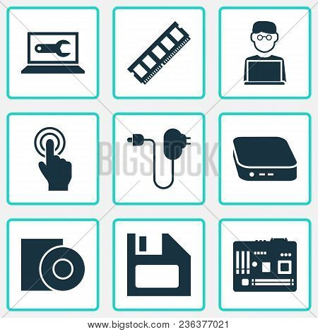 Device Icons Set With Man With Laptop, Floppy Disk, Computer Repair And Other Plug Elements. Isolate