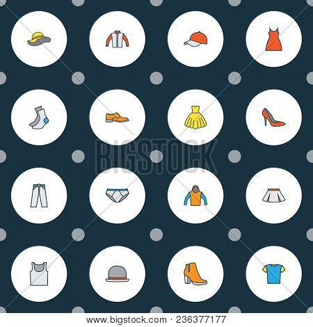 Dress Icons Colored Line Set With Hat, Blouse, Panama And Other Elegant Headgear Elements. Isolated