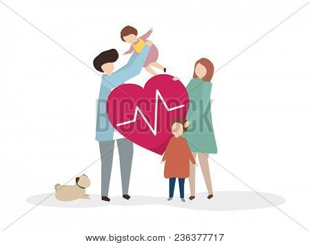 Illustration of a happy healthy family
