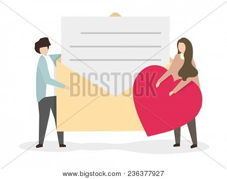 Illustration of a man giving a love letter