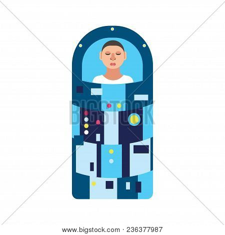 Astronaut In Hibernation Capsule. Stock Vector Illustration Of A Space Ship Passenger Or A Crew Memb