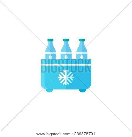 Flat Vector Illustartion Of Drinks In A Small Refrigerator.