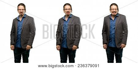 Handsome young man angry and stressful frowns face in dissatisfaction, irritated and annoyed, expressing anger