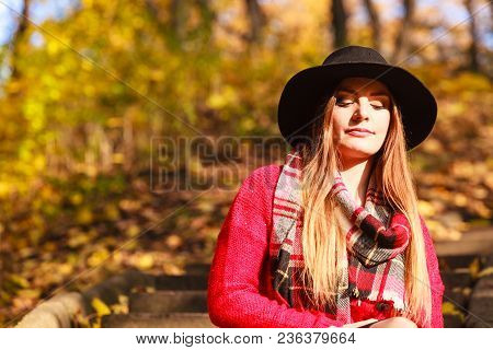 Woman Wearing Warm Fashionable Outfit Walking In Park During Golden Autumn Weather, Enjoying Nature