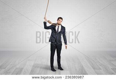 Young responsable man on the verge of suicide