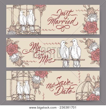Set Of Three Original Wedding Banners Based On Doves In Cage Vintage Sketch And Brush Calligraphy. S