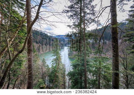 Fantastic View To The River Doubs Near Saut Du Doubs Waterfall Switzerland