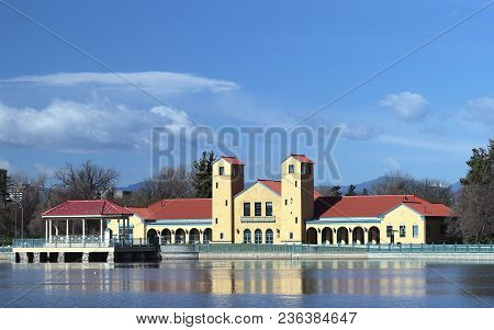 Ferril Lake And Pavilion In City Park Of Denver Colorado