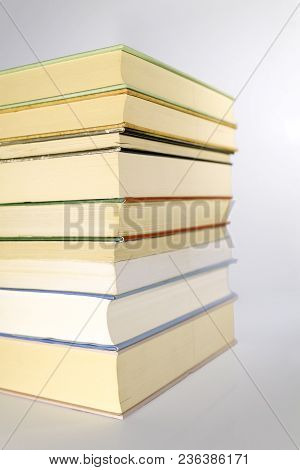 Stack Of A Vintage Brown Leather Books