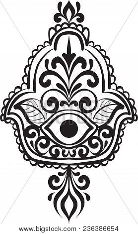 Drawing Of A Line Art Hand Of Fatima Hamsa With Round Ethnic Black And White Pattern On A White Back