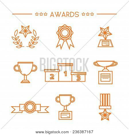Prize And Award Icon Set. Stock Vector Illustration Of Medal, Trophy, Cup For Winning In Sport And O
