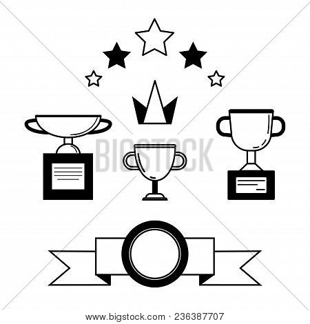 Prize And Award Icon Set. Stock Vector Illustration Of Stars, Trophy, Cup For Winning In Sport And O