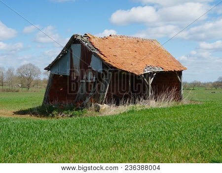 A Delapidated Agricultural Building In Rural Central France