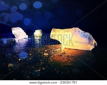 Abstract Effect.   Ice Shard And Cracked Ice Texture On Melring Glacier.  Icy Fragment  Is Melting O
