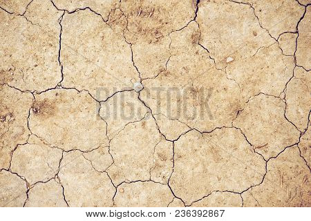 Top View Of Cracked Dry Soil Ground Texture For Drought Season Background
