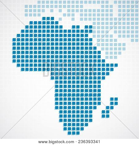 Continent Africa Blue Dotted Map