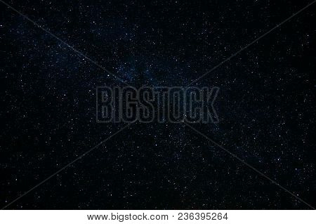 Night Starry Sky Background. Night View Of Natural Glowing Stars.