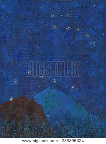 Oil Painting On Canvas. Big Snowy Mountain With Lights Of Mountaineers On A Starry Night. Deep Color