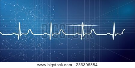 White Heart Beat Pulse Electrocardiogram Rhythm on Blue Background. Healthcare ECG or EKG Medical Life Concept for Cardiology.