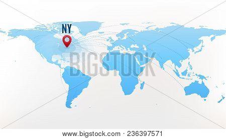 travel destination new york concept international journey red pointer on blue world map
