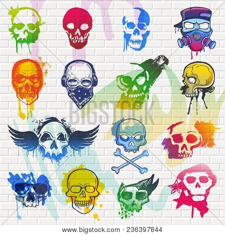 Skull Vector Mexican Dead Head And Crossbones And Human Tattoo Illustration Thick-skulled Set Of Hor