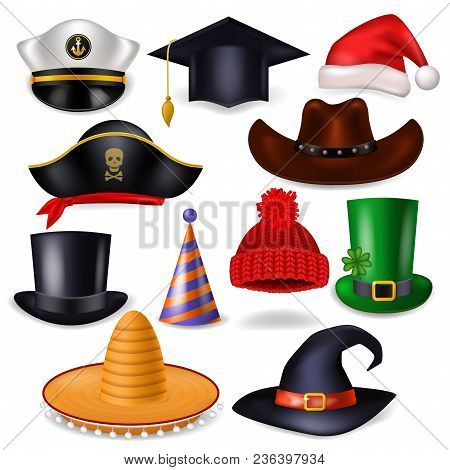 Cartoon Hat Vector Comic Cap For Celebrating Birthday Party Or Chrisrmas With Headwear Santahat Or P