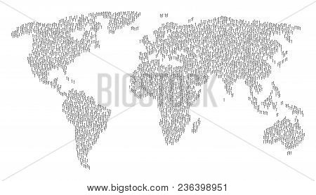 Global Geography Mosaic Map Constructed Of Medieval Sword Icons. Vector Medieval Sword Scattered Fla