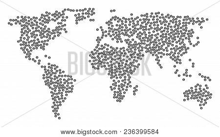 Continental Collage Map Designed Of Money Pictograms. Vector Money Scatter Flat Elements Are Compose
