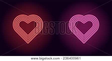 Neon Heart In Red And Pink Color. Vector Illustration Of Neon Heart Consisting Of Five Outlines, Wit
