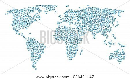 Global World Concept Map Created Of Newspaper Design Elements. Vector Newspaper Scatter Flat Icons A