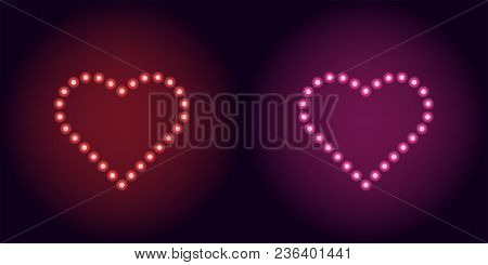 Neon Dot Heart In Red And Pink Color. Vector Illustration Of Heart Consisting Of Neon Dot, With Back