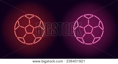 Neon Football Ball In Red And Pink Color. Vector Illustration Of Soccer Ball Consisting Of Outlines,