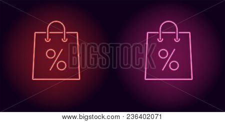 Neon Shopping Bag In Red And Pink Color. Vector Illustration Of Shopping Bag With Percent Consisting