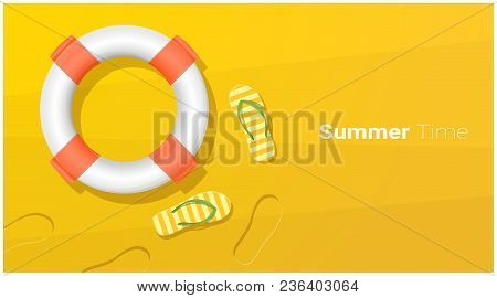 Hello Summer Season Background With Sandals And Lifebuoy On Tropical Beach , Vector , Illustration