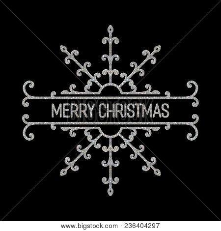 Silver Textured Inscription Merry Christmas In Retro Border. Vintage Design Element For Label, Frame