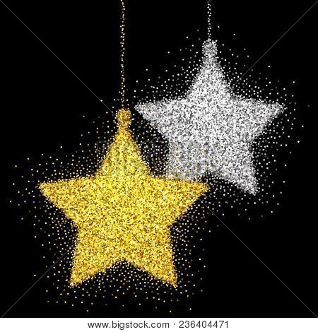 Shine Gold And Silver Star With Glitter On Black Background. Christmas Decoration With Sparkling Lig