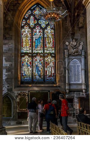 Edinburgh, Great Britain - September 10, 2014: This Is One Of The Oldest Stained Glass Windows In Th