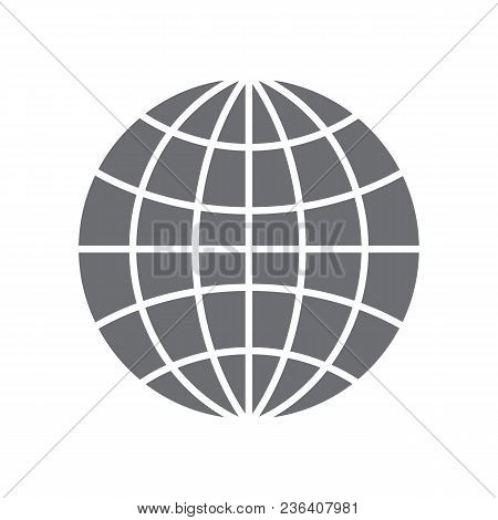 Grey Simple Logo Of The Earth. Isolated On White Background. Vector Illusrtation