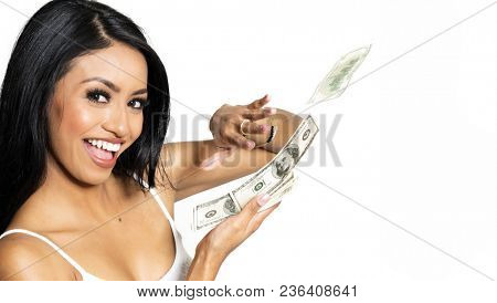Happy woman saving hundreds of dollars