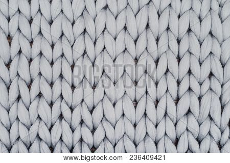 Gray Knitted Blanket From Merino Wool