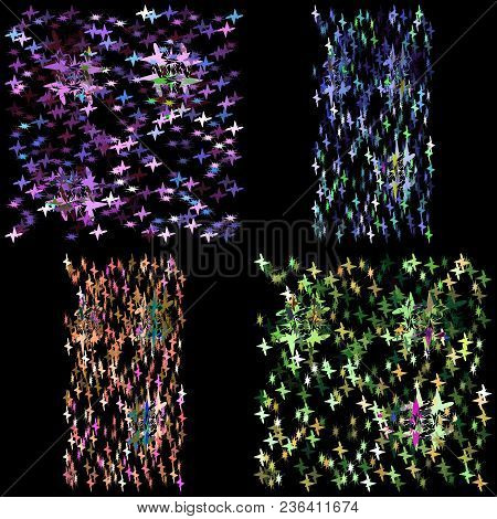 Vector Set Of Textures For Fabric From The Night Sky With Stars. Great For Fabrics And Walls In The