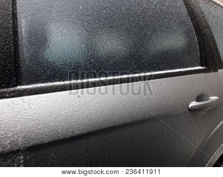 Freezing Rain On A Car - Photo Taken In Bucharest After The Freezing Rain In March 2018
