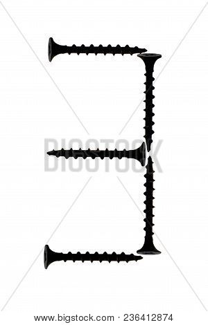 Figure 3 Three Composed Of Screws Isolated On A White Background. Number 3