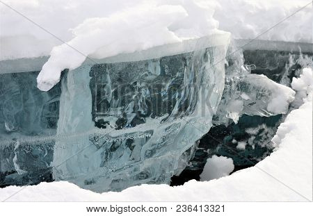 Ice Seen When The Lake Is Cracking In Alaska