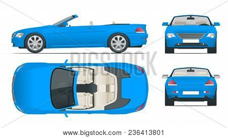 Transfer, Cabriolet Car. Cabrio Coupe Vehicle Template Vector Isolated On White. View Front, Rear, S