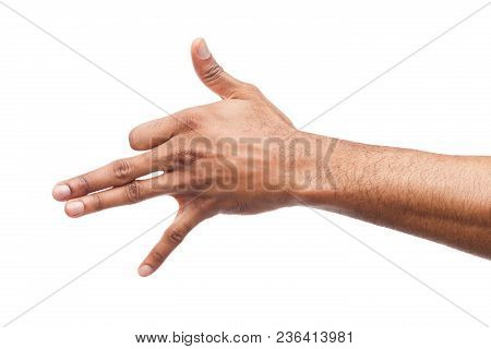 Black Man Hand Gesturing In The Form Of A Dog Head Isolated On White Background. Hand And Fingers In
