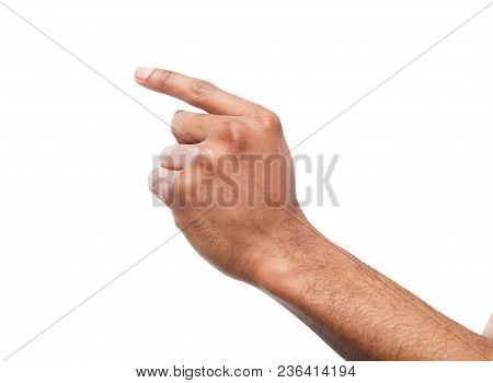 Black Male Hand Point Finger. Hand Gestures - Man Pointing On Virtual Object With Forefinger, Isolat