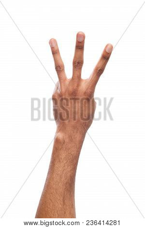 Black Hand Showing Number Three Isolated. Counting Gesturing, Enumeration, White Background