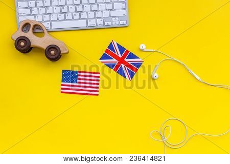 Teach English For A Child. Funny English. British And American Flags, Computer Keyboard, Toy On Yell